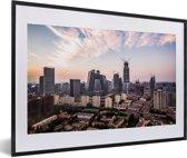 Foto in lijst - Skyline van Beijing fotolijst zwart met witte passe-partout 60x40 cm - Poster in lijst (Wanddecoratie woonkamer / slaapkamer)