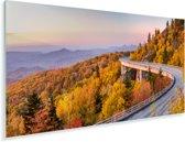 Zonsopgang bij het Amerikaanse Blue Ridge Parkway bij North Carolina Plexiglas 80x40 cm - Foto print op Glas (Plexiglas wanddecoratie)