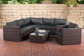 Clp Wicker Poly rotan lounge set TIBERA, met opbergruimte (2 x 2-zitsbank + fauteuil + hoekbank + tafel 110 x 60 cm + 9 cm dikke bekleding) 5 mm dikke poly rotan - kleur rotan : bruin gemeleerd Bekleding: antraciet