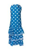 Spaanse schort - Flamenco - keukenschort blauw wit verkleedkleding