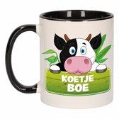 1x Koetje boe beker / mok - zwart met wit - 300 ml keramiek - koeien bekers