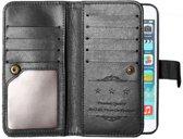 GadgetBay XL Wallet hoesje iPhone 6 6s lederen portemonnee cover zwart - 10 pasjes - Bookcase