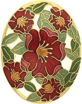 Behave® Dames broche ovaal met bloemen rood - emaille sierspeld -  sjaalspeld