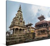 Foto van het Durbarplein in Nepal Canvas 140x90 cm - Foto print op Canvas schilderij (Wanddecoratie woonkamer / slaapkamer)