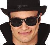 Halloween -  Halloween/horror verkleed bril zwart met schedels voor volwassenen - Halloween verkleed zonnebril