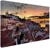 Lissabon in de avond Canvas 60x40 cm - Foto print op Canvas schilderij (Wanddecoratie woonkamer / slaapkamer) / Steden Canvas Schilderijen