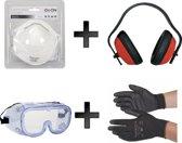 OX-ON 4 delige Doe het zelf set - Klusset - veiligheidsset - klussen - Gehoorbescherming - Veiligheidsbril -2 Stofmaskers - 1 paar Werkhandschoenen