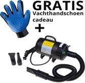 Krachtige Hondenföhn/ Waterblazer met Draaiknop + vachtverzorgingshandschoen voor de Hond   Verstelbare Vermogen standen (500W tot 2400W) en Verstelbare Temperatuur