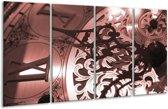 Glas schilderij Klok | Bruin, Rood | 160x80cm 4Luik | Foto print op Glas |  F006594
