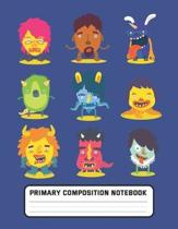 Primary Composition Notebook: Cute Monsters - Draw and Write Journal, Story Paper Journal, Dashed Midline with Picture Space for kids, Elementary Gr