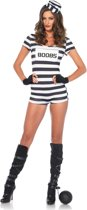 Convicted Cutie 80085 kostuum - L - Zwart, Wit - Leg Avenue