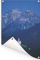Kasteel Neuschwanstein met besneeuwde bergtoppen in Duitsland Tuinposter 40x60 cm - klein - Tuindoek / Buitencanvas / Schilderijen voor buiten (tuin decoratie)