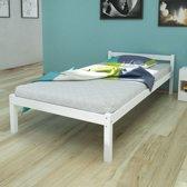 vidaXL Bedframe massief grenenhout wit 90x200 cm