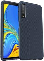 Samsung Galaxy A7 (2018) Twill Texture TPU Back Cover Blauw