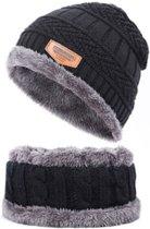 Fleece Muts & Bijpassende Sjaal - Zwart - Heerlijk voor de koude winterdagen
