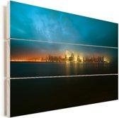 Kleurrijke zonsondergang verlicht de stad Jersey in Amerika Vurenhout met planken 60x40 cm - Foto print op Hout (Wanddecoratie)