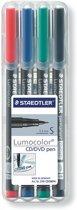 Lumocolor CD/DVD pen. fijn - box 4 kleuren