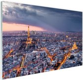 Parijs vanuit de lucht Glas 180x120 cm - Foto print op Glas (Plexiglas wanddecoratie) XXL / Groot formaat!