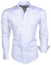 Ferlucci - Trendy Italiaans Effen Heren Overhemd - Napoli - Wit