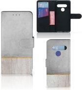 LG G8s Thinq Book Style Case Wood Concrete