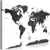 Schilderij - Wereldkaart in zwart/wit