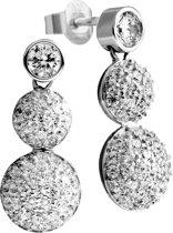 Diamonfire - Zilveren oorhangers Pave bollen - Solitaire steker