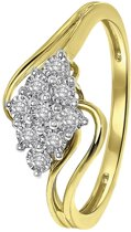 Lucardi - Diamond Luxury - 14 Karaat geelgouden ring entourage met diamant
