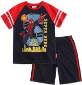 jongens Korte broek Spiderman-T-shirt-en-bermuda-marineblauw-maat-128 4056085725594