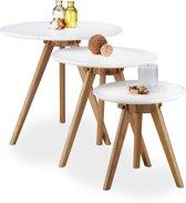 relaxdays - eiken bijzettafeltje - 3 stuks - mimiset - salontafel- tafeltjes