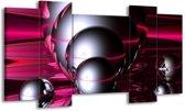 Canvas schilderij Abstract | Zilver, Paars, Zwart | 120x65 5Luik
