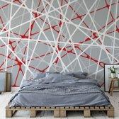 Fotobehang Modern White Red Grey String Design | VEXXL - 312cm x 219cm | 130gr/m2 Vlies
