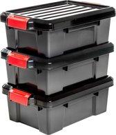 IRIS Powerbox opbergbox - 12,5 l - Kunststof - Zwart/rood - 3 stuks