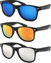 Wayfarer Zonnebrillen - 3 stuks - Mat Zwart