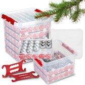 Sunware Q-Line Kerstset Opbergbox - Voor 200 Kerstballen - Met Kersthaspel - Transparant