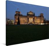 Het Duitse parlementsgebouw met kerstboom in Berlijn Canvas 30x20 cm - klein - Foto print op Canvas schilderij (Wanddecoratie woonkamer / slaapkamer)
