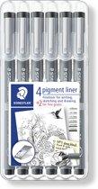 Staedtler pigment liner/fineliner - zwart - 6 stuks