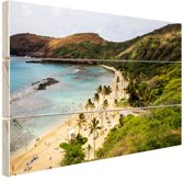 Hanauma Bay op Hawaii Oceanie Hout 80x60 cm - Foto print op Hout (Wanddecoratie) / Zee en Strand