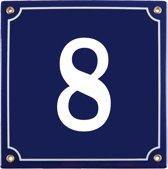 Emaille huisnummer blauw nr. 8