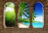 Fotobehang View Paradise Beach Palms | XXXL - 416cm x 254cm | 130g/m2 Vlies
