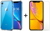iPhone XR Siliconen Hoesje - 1 x Tempered Glass Screenprotector - Extra Stevige Randen - Shock Proof Case - Transparant