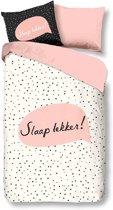 Snoozing Slaap Lekker - Flanel - Dekbedovertrek - Eenpersoons - 140x200/220 cm + 1 kussensloop 60x70 cm - Off white