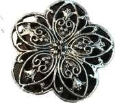 Petra's Sieradenwereld - Magneetbroche zilverkleurig  bloem rond