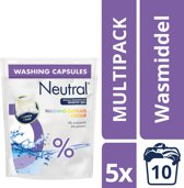 Neutral Parfumvrij Kleur wasmiddel capsules - 50 wasbeurten - 5 stuks