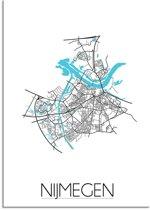 Plattegrond Nijmegen Stadskaart poster DesignClaud - Wit - A3 poster