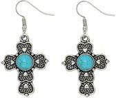 Fako Bijoux® - Oorbellen - Tibetaanse Stijl - Turquoise - Kruisje