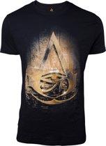 Assassin's Creed Origins Hieroglyph Crest Logo T-Shirt Zwart/Goud, Maat:  XXL