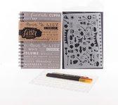 Set: Bullet Journal, Pigma Micron Pen, brushpennen en stencils