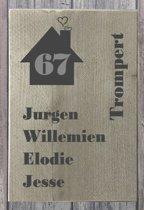 Naambordje voordeur steigerhout | houten naambord 30x20 cm