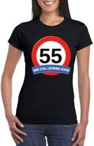 Verkeersbord 55 jaar t-shirt zwart dames S