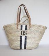 8e54b0aed68 My Initials Shopper - Gepersonaliseerde tas - custom kleur en initialen -  Strandtas - Rieten tas